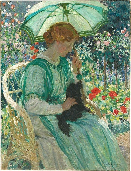 image: Emanuel Phillips Fox (1865 -1915) The Green Parasol 1912